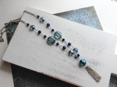 Royal Blue Navy and Silver Crystal Tassle Necklace by Susoodles, $20.00