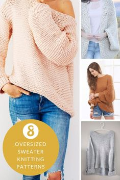 Make yourself a super cosy oversized sweater this fall with one of these free sweater knitting patterns for women. The post Make yourself a super cosy oversized sweater this fall with one of these free sw& appeared first on Best Knitting Pattern. Free Knitting Patterns For Women, Beginner Knitting Patterns, Jumper Knitting Pattern, Chunky Knitting Patterns, Knitting Ideas, Knit Sweater Patterns, Sewing Patterns, Pull Crochet, Crochet Baby
