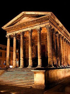 The Maison Carrée is an ancient building in Nîmes, southern France; it is one of the best preserved Roman temples to be found anywhere in the territory of the former Roman Empire. It was built c. 16 BC.