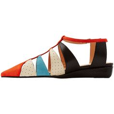 Roland Mouret Alix Perforated Leather Sandals ($135) ❤ liked on Polyvore featuring shoes, sandals, pointed toe shoes, strap wedge sandals, multi colored wedge sandals, multi color sandals and wedges shoes