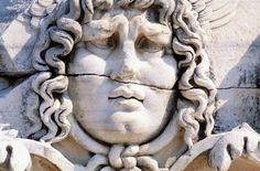 Stone carving of a Medusa head. Didyma. Aegean area. Turkey  - stock photo