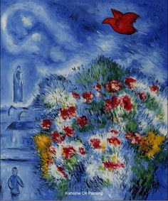 The Red Bird by Marc Chagall abstract oil paintings reproduct,Jewish chagall figure oil paintings as gift for home deco