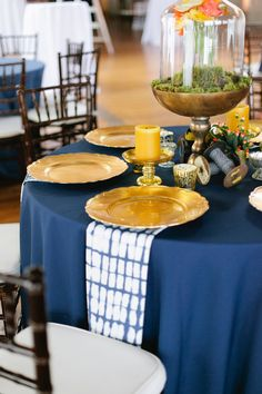 indigo table with tie dye napkins - photo by http://morgantrinker.com/ - http://ruffledblog.com/the-notwedding-birmingham/