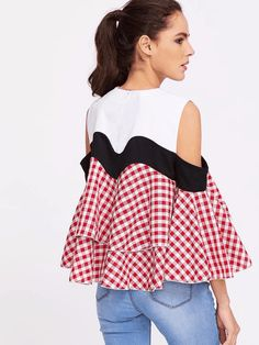 Contrast Gingham Plaid Open Shoulder Ruffle Tiered Top US$19.00