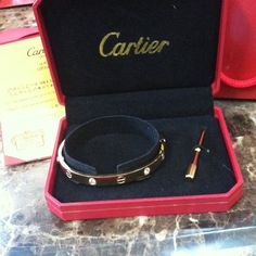 Gold with diamonds Cartier-styled bracelet Awesome Cartier-STYLE gold bracelet with diamonds. Awesome for stacking!! Please read carefully before asking about authenticity!! Accessories