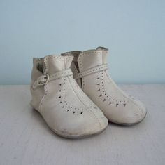 Antique White Leather Baby Buckle Shoes / Boots. Willow Moon Vintage on Etsy.
