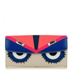 FENDI Vitello Elite Embellished Monster Continental Wallet Bellini ❤ liked on Polyvore featuring bags, wallets, flap clutch wallet, credit card holder wallet, flap wallet, flap bag and white wallet