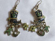Silver tone metal & Enamel Southwest style dangle charm Boots Cactus earrings | eBay
