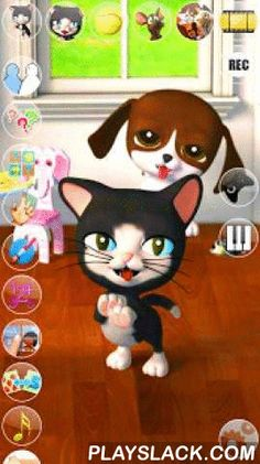 Talking Cat & Background Dog  Android App - playslack.com ,  Talk to the Talking Cat & Background Dog. She answers with her funny voice and reacts to what you say or your touch. Now with 8 exciting inside games with many levels to play! Spend some time with these two little friends and their great play activities.★★★ Features: ★★★✔ High quality 3D graphics✔ Voice interaction/animations✔ Cat Piano✔ Exciting touch game with 20 levels inside. Help the cat in catching some of her spinning…