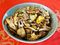 This dish celebrates the seasonal arrival of mushrooms and fresh-roasted chestnuts in the form of a simple soy-spiked braise. You can use any fresh fall mushrooms available to you, including enoki, shiitake, button mushrooms, Swiss browns, and chanterelles.