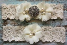 Ivory Wedding Garter Set, Bridal Garter Set, Lace Garter, Toss Garter Included, Vintage Wedding on Etsy, $21.99