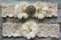 Ivory Wedding Garter Set, Bridal Garter Set, Lace Garter, Toss Garter Included, Vintage Wedding on Etsy, $21.99