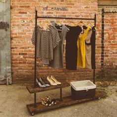 pipe wood garment rack - Google Search