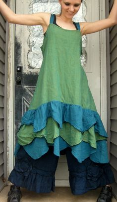 Green Crossweave and Teal Linen in a new wavy hem dress. This is super fun, with 3 layers of wavy scalloped ruffles, ties in back, and