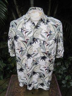 eafc9744 HAWAIIAN Aloha SHIRT M pit to pit 23 PURITAN rayon bird of paradise palm  trees