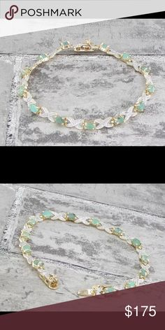 "18KT gold over 925 SS emerald & diamonds Gorgeous!!! 18KT gold over 925 Sterling Silver emerald & ( .02ctw ) Genuine diamonds infinity tennis bracelet 9g 7.25"" long 925 Jewelry Bracelets"