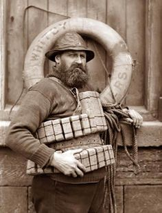 During a great storm on 9 February 1861 the crew of the Whitby lifeboat put to sea for the sixth time that day. Whitbys lifeboat capsised with the loss of all but one of the crew,Henry Freeman. Vintage Photographs, Vintage Photos, Oldschool, Historical Photos, Old Photos, The Past, Old Things, Black And White, Sailors