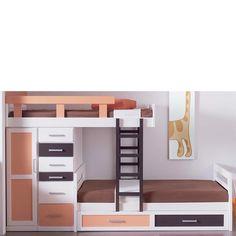 Cama tipo tren con 3 camas, realizada en madera de pino. Se compone de 3 camas, escalera, barandilla y armario con cajones y 1 puerta. Incluye los 3 somieres (el inferior con ruedas). Medidas: 302x102x165 cm. Más info en www.tudecora.com