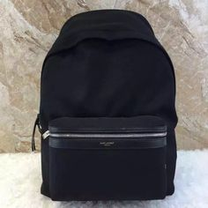 af4396f3d03a7 Saint Laurent 437087 City California Backpack In Black Canvas and Black  Leather     Real Bag Sale