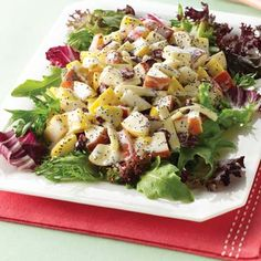 """Winter Fruit Salad""... Apples , Pears, Cranberries, & Spring Lettuce with a creamy sweet poppy seed vinaigrette."