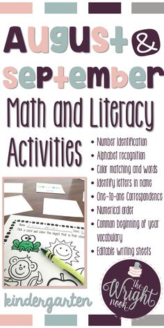 This package was made to compliment your math and literacy centers with fun and engaging activities. Most of these activities also work great for extra at-home practice. With colored and printer friendly versions, this will be a great resource to add to your kindergarten or first grade classroom.