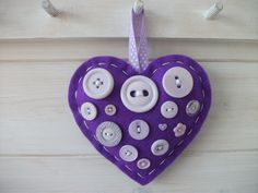 Felt and Button Hang Anywhere Hearts. £5.00 each plus p