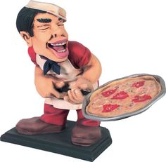 Pizza Man Advertising Display Holding Pizza