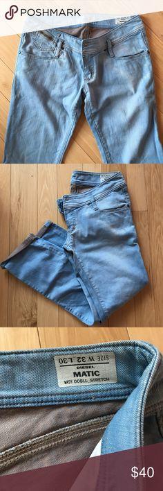 Diesel matic low rise light denim jeans Diesel straight leg low rise jeans, light blue, super soft and comfortable Diesel Jeans Straight Leg