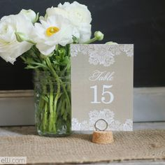 Craft a romantic and feminine look for your reception by incorporating lace in your wedding details, like these lovely table numbers designed by Elli. Print them out on the heaviest card stock your printer will support, and trim out each card using an X-Acto knife or paper cutter.Download the free printable here ►