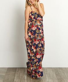 Look at this #zulilyfind! PinkBlush Navy Blue Floral Maternity Maxi Dress #zulilyfinds