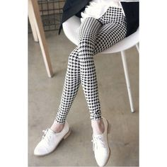 Stylish Mid-Waisted Elastic Waist Plaid Bodycon Slimming Women's Leggings #shoes, #jewelry, #women, #men, #hats