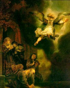 """""""The Archangel Raphael Taking Leave of the Tobit Family"""" -- 1637 -- Rembrandt van Rijn -- Dutch -- Oil on board -- The Louvre."""
