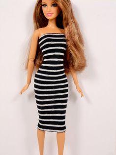 Barbie Doll Dress Black & White  Fashion Dolls by ElleLaLaBoutique