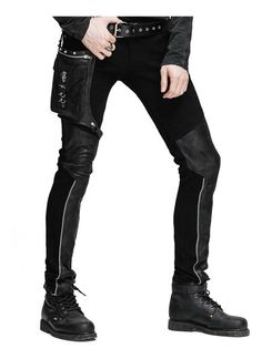 Buy Fashion Mens Retro Rock PU Leather Coat jacket Black Goth Steampunk Army Casual at online store Punk Outfits, Cool Outfits, Mens Gothic Pants, Cheap Mens Fashion, Fashion Men, Fashion Ideas, Drag King, Shorts, Slim Fit