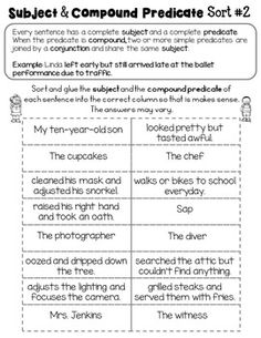 Compound Subject Compound Predicate by Rock Paper Scissors Simple Subject And Predicate, Subject And Predicate Worksheets, Grammar Help, Grammar Practice, Complete Predicate, Leave Early