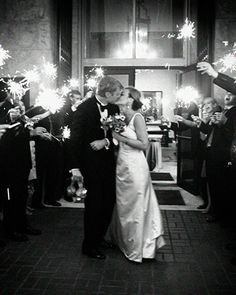 Explosions of light made the send-off photos this brides favorite from her wedding day