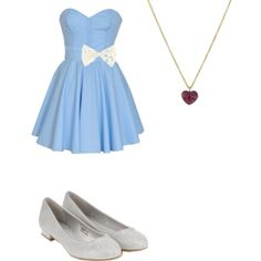 This simple blue dress is stunning. To make it light up a bit a white lace bow can spice up the look. To complete this cute outfit, you can't forget some silver shoes. These silver shoes are gorgeous with a bit of a heel. If you want to jazz it up a bit more a small purple heart necklace will match just fine.