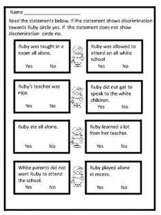 Ruby Bridges Biography and Fun Activities Preschool Classroom, Classroom Ideas, Black History Month Activities, Teaching Tools, Teaching Ideas, 1st Grade Science, Reading Stories, Social Studies, Fun Activities