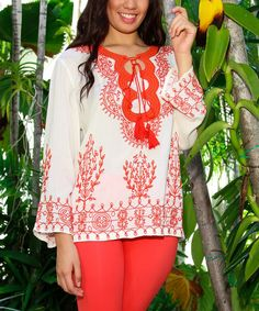 Take a look at the Red & White Embroidered Tunic on #zulily today!