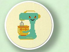 Cute Teal Stand Mixer. Cross Stitch Pattern