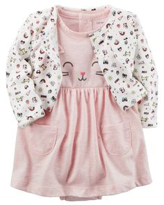 Baby Girl 2-Piece Heathered Bodysuit Dress & Cardigan Set from Carters.com. Shop clothing & accessories from a trusted name in kids, toddlers, and baby clothes.