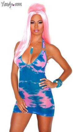 Neon blue mini dress