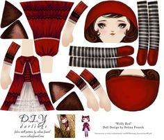 Cut and Sew Ragdoll Pattern Wolfy Red Riding Hood Doll by Selina Fenech fabric by selinafenech on Spoonflower - custom fabric