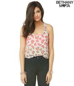 Sheer Chiffon Watermelon Tank from Bethany Mota collection at Aeropostale