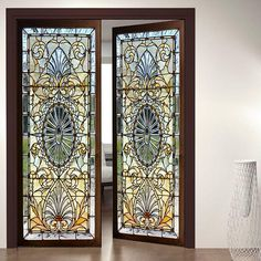 Door Wall Sticker *Modern Stained Glass Window*/ Self-Adhesive Vinyl Decal Poster Mural / Self-Adhesive Wallpaper Stained Glass Door, Leaded Glass, Stained Glass Window Film, Door Stickers, Wall Sticker, Sticker Ideas, Wall Vinyl, Vinyl Decals, Window Design