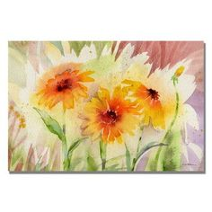 """Trademark Art """"Medow Daisy Trio"""" by Sheila Golden Framed Painting Print on Wrapped Canvas Size: 30"""" H x 47"""" W x 2"""" D"""