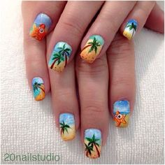 A very colorful Palm Tree Nail Art design. The entire beach is used as an…