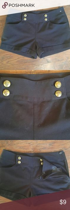 *New* Black shorts size 8 Brand new black stretchy shorts.. Never worn still has tag thing attached to the shorts but the actual paper tag ripped off. Size 8 super cute w/ gold buttons zip up on side. Divided Shorts