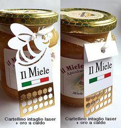 cartellini per vasetti miele stampa digitale + laser + oro a caldo in digitale, anche in pochi pezzi