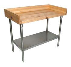 """#JohnBoos 1-3/4"""" Edge-Grain Maple Bakers Table - Full Riser, Stainless Shelf at http://butcherblockco.com"""